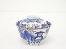 4628567 Antique Japonais Imari Meiji Era Lidded Bowl / Bleu Et Blanc En Porcelaine