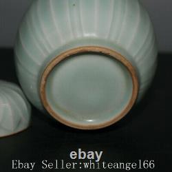 5.4 Chinois Fine Antique Porcelaine Chanson Longquan Four Sculpté Dentelle Tea Caddy