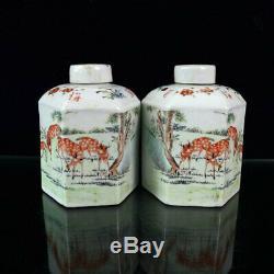 5,71 Vieille Porcelaine Antique Couleur De La Lumière Peint Six Partis Thé Caddy Une Paire