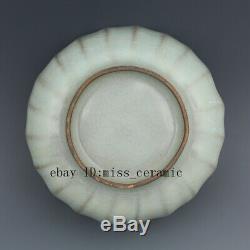 5 Chanson Guan Four Chine Antique Ciel Porcelaine Cyan Glaçure Lotus Pétale Tea Caddy