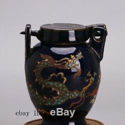 5 Yuan Chine Antique Porcelaine Émail Bleu Multicolore Dragon Pot Thé Caddy