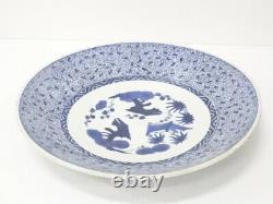 5102190 Antique Japonais Imari / Edo Era Grande Plaque / Porcelaine Bleue Et Blanche