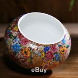 540ml Chine Porcelaine De Jingdezhen Peinture À La Main De La Famille Rose Des Fleurs De Thé Caddy