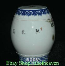 6.2 Vieux Chinois Wucai Porcelaine Dynasty Palace Flore Word Tea Caddy