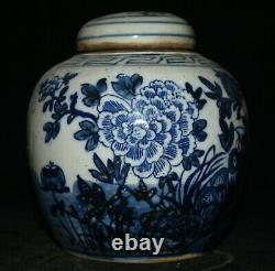 6.4 Old Chinese Blue Bird En Porcelaine Blanche Fleur Caddy Thé Pot Pot