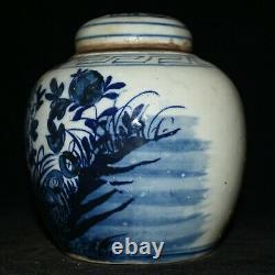 6.4 Vieux Pot De Pot De Thé Blanc Bleu Chinois