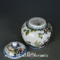 6 Chine Ancienne Émaux De Couleur Porcelaine De Fleurs Marqué Boîte À Thé Oiseau