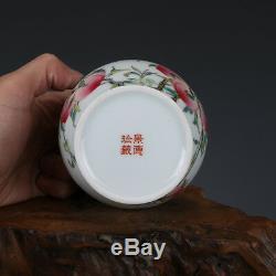 6 Chine Antique À Thé En Porcelaine De Pêche Qing Qianlong Shou Émaux De Couleur Caddy