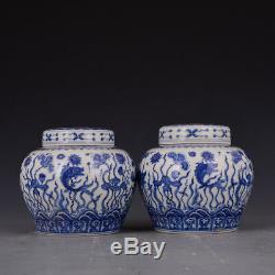 6 Une Paire Chine Antique Porcelaine Ming Chenghua Algues Bleu Blanc Pot Couvercle De Poisson