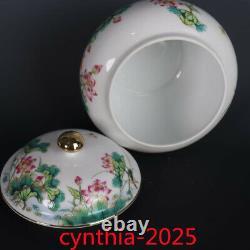 7.0rare Chinese Porcelaine Qing Qianlong Gilt Famille Rose Lotus Lignes Tea Caddy