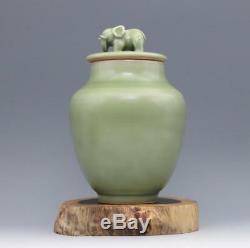 7 Chine Antique Porcelaine Chanson Longquan Four Plum Pot Éléphant Glaçure Verte
