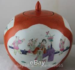 8,9 Famille Chinoise-rose Peinture Porcelaine Main Antique Figure Tea Caddy Paire