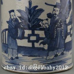 8 Chine Antique Porcelaine Main Bleu Et Blanc Peinture Officiels Tea Caddy