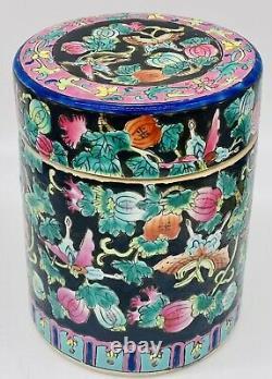 Anticique 19ème Chinese Famille Floral Tea Caddy Box LID Porcelain Unique Vintage
