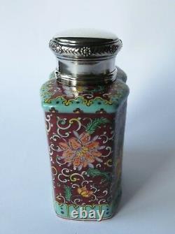 Antik Grosse Teedose Porzellan Silber Dekel Porcelaine Samson Thé Caddy Antique