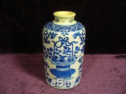 Antique 17 / 18c Bleu Chinois Blanc Boîte À Thé Bouteille De Vase En Porcelaine Kangxi