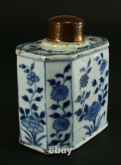 = Antique 1735-1796 Qianlong Qing Chinese Porcelain Tea Caddy Octagon Flow Blue