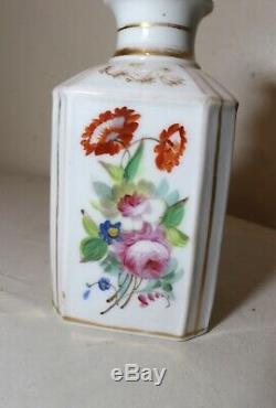 Antique 1800 Peint À La Main Boîte À Thé En Porcelaine Dorée Florale Française Pot Lidded