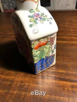 Antique 18ème / 19ème Siècle Chinois D'exportation À Thé En Porcelaine Caddy Fédéral Américain