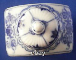 Antique 18ème C Porcelaine Allemande Blue Onion Tea Caddy Jar Porzellan Teedose
