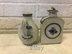 Antique 18ème Siècle Chinese Export Porcelaine Lot 5 Pièces Pour Persian Market