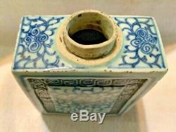 Antique 18ème Siècle Chinois Bleu Blanc Bleu Onion À Thé En Porcelaine Caddy