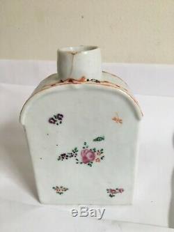Antique 18ème Siècle Chinois D'exportation À Thé En Porcelaine Caddy Famille Rose Fencai