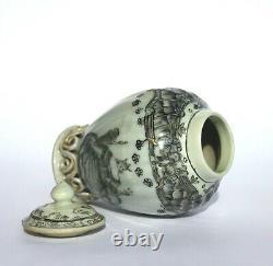 Antique 18ème Siècle Chinoise Thé Caddy Grisaille Sépia Porcelaine