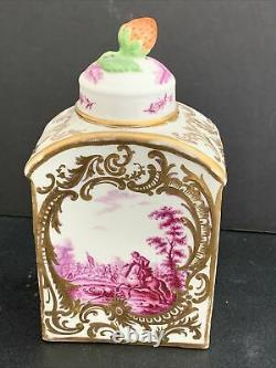 Antique 18ème Siècle Meissen Porcelaine Thé Caddy 5