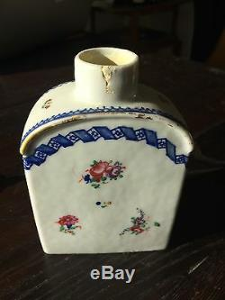 Antique 18th Century Chinese Export Porcelaine Tea Caddy Famille Rose