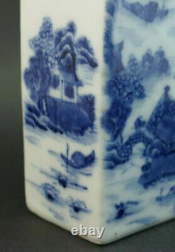 Antique 18thc Chinois Qianlong (1736-1795) Caddy De Thé En Porcelaine Bleue Et Blanche