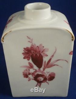 Antique 18thc Kpm Berlin Porcelaine Floral Tea Caddy / Pot Porzellan Teedose Dose