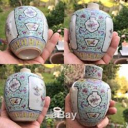 Antique 19ème C Chinois En Porcelaine Peinte À La Main Famille Rose Palette Tea Caddy Box