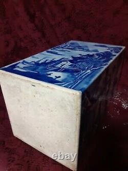Antique 19ème Siècle Dynastie Qing Canton Porcelaine Bleu Et Blanc Thé Cannister