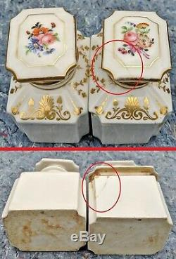 Antique Anglais Français Box 19 C Marqueté Tea Caddy Équipée Porcelaine Bouteilles