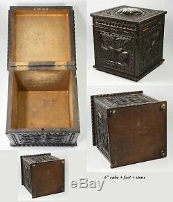 Antique Bretagne Chip Sculpté 6 Tea Caddy Ou Humidor, HP Porcelaine Médaillon