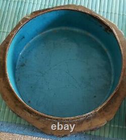 Antique Ca 1890 Chinese Laiton & Porcelaine Peint À La Main Caddy