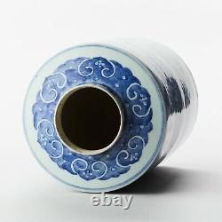 Antique Chine Chinoise Qing Tea Caddy Blue White Porcelain Grande 18ème C