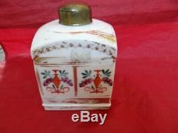Antique Chinese Beau Domaine D'exportation Porcelaine Marché Russe Tea Caddy