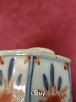 Antique Chinese Export À Thé En Porcelaine Avec Caddy Argent Top Période Kang Hei
