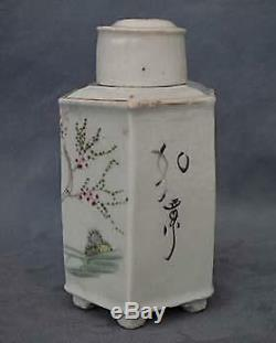 Antique Chinese Export Famille Rose Thé En Porcelaine Caddy Dynastie Qing