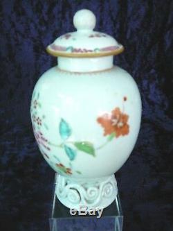 Antique Chinese Export Qing Famille Rose 18 C. À Thé En Porcelaine Caddy Avec Couvercle