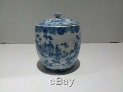 Antique Chinese Export Tea Caddy Ginger Jar Bleu Blanc Porcelaine Peinte À La Main