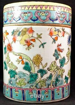 Antique Chinese Famille Rose Porcelaine Lited Tea Jar Caddy Qing Dynastie 2 De 2