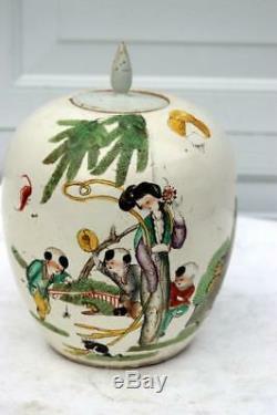 Antique Chinese Porcelain Jar Vase Tea Caddy Boy Avec Époque De Spider Kangxi