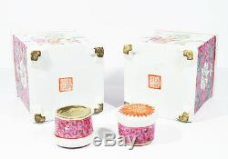 Antique Chinois À Thé En Porcelaine Caddy Décoré Avec Des Figures Du 19ème Sceau Rouge Mark