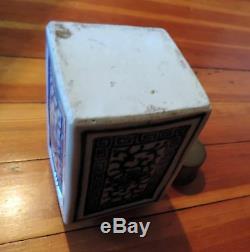 Antique Chinois En Porcelaine Bleu Et Blanc Tea Caddy 19ème Siècle Export Étain