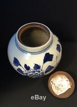 Antique Chinois En Porcelaine Bleu Et Blanc Thé Caddy / Pot De Gingembre Avec Des Papillons 6 I
