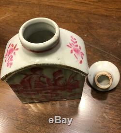 Antique Chinois En Porcelaine Peinte À La Main Avec Thé Caddy 4 Règne Caractère Mark