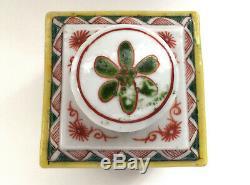 Antique Chinois Famille Verte À Thé En Porcelaine Caddy Fleurs Papillon Oiseau Sq Pot